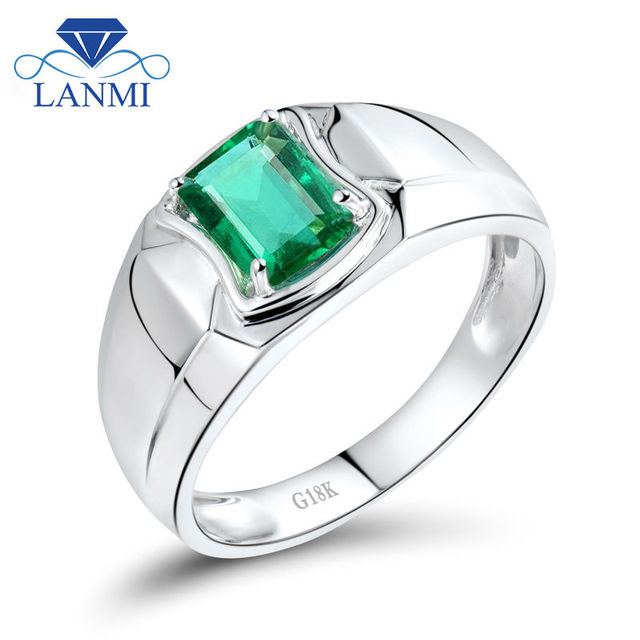 Emerald Gemstone Rings In Solid 18k White Gold Natural Emerald Wedding&Engagement Men's Ring Colombian Jewelry WU292