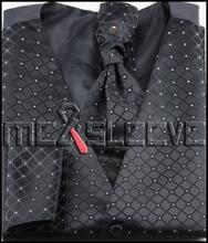 hot sale waistcoat for party wear black check waistcoat (vest+ascot tie+cufflinks+handkerchief)