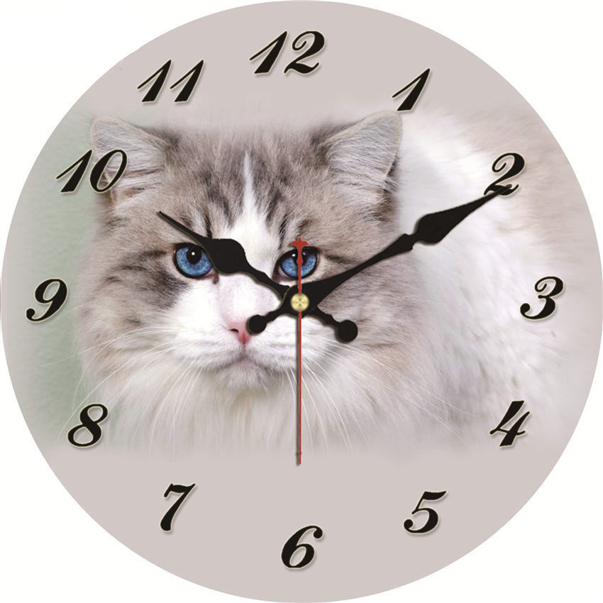 Large Cute Cat Wall Clocks Modern Design Silent Living Study Room Decoration Home Decor Watches Shabby Chic Art Wall Clocks
