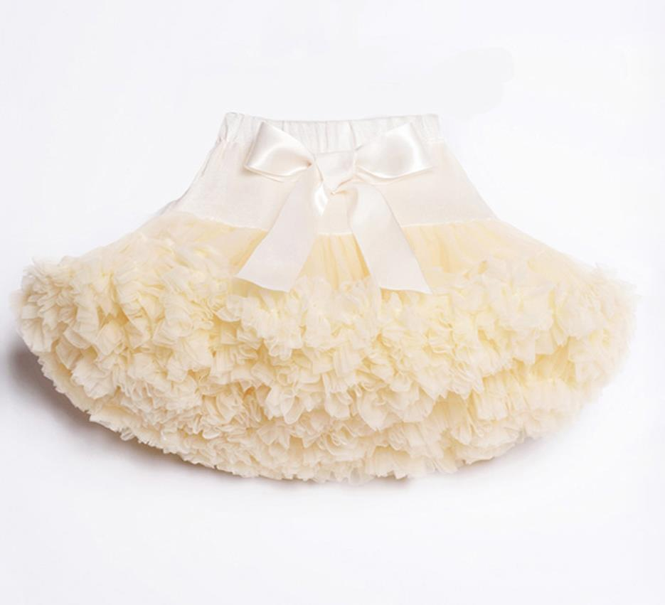 Детские Нижние юбки для девочек юбка-пачка Нижняя юбка для девочек девочки пачки, миниатюрные юбки шифоновая юбка воздушная юбка подростковая одежда для девочек - Цвет: Слоновая кость
