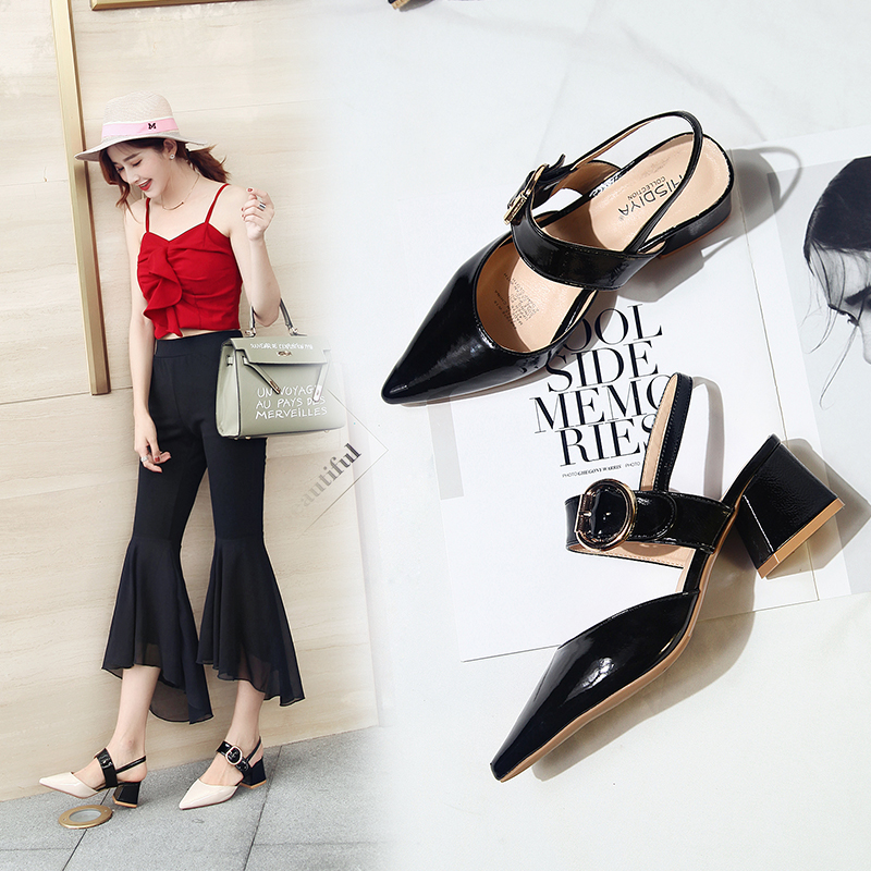 Cremulen 2019 Summer Pointed Thick Heel Single Shoes Buckle Shallow Womens Sandals Fashion Lady