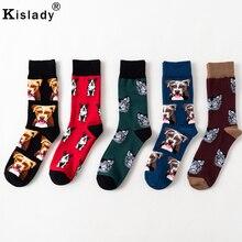 2018 Autumn Men s Fashion Dog Head Print Socks Cotton Unisex Colorful Cool Socks Winter Long