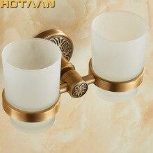 Новое поступление алюминиевый двойной держатель для стаканов держатели для чашек и стаканов держатель для зубных щеток аксессуары для ванной комнаты Banheiro YT-14208