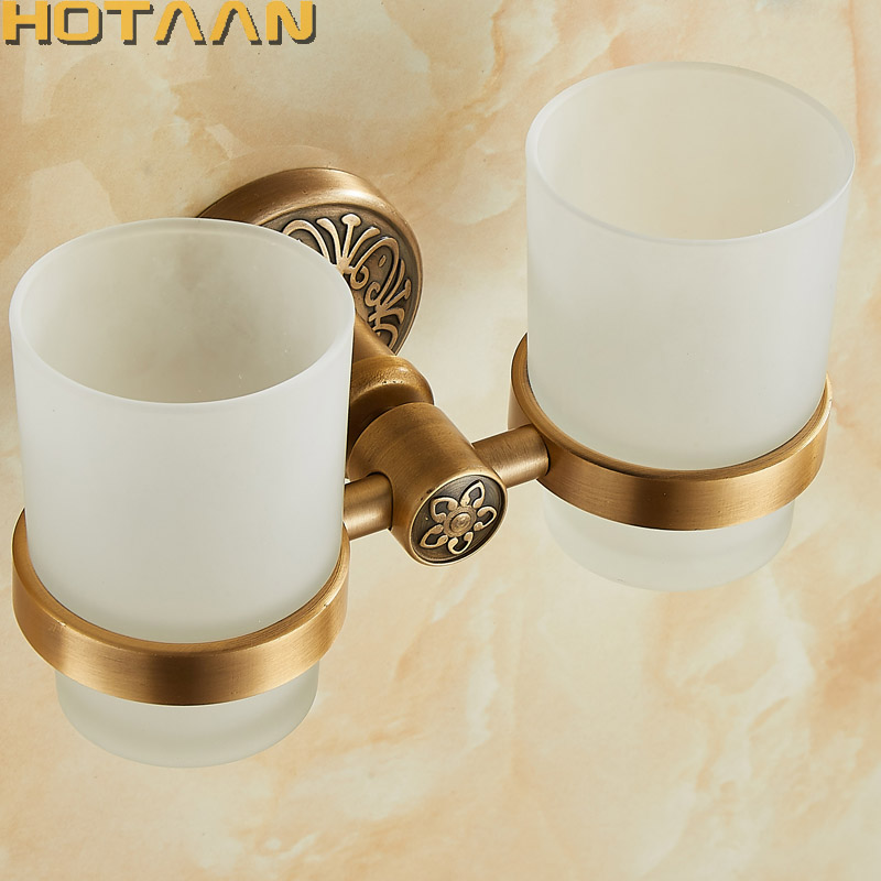 New Arrival Aluminium Double Tumbler Holder Cup & Tumbler Holders Toothbrush Holder Bathroom Accessories Banheiro YT-14208
