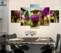 Fashion HD Definition Purple Flower Street Canvas Painting Adornment Kitchen Sitting Room Art Wall Picture Poster