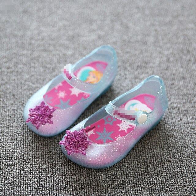 Girls Princess Jelly Shoes Mini sed Cartoon Children Sandals Transparent Snowflake Kids Anna Elsa Shoes 2