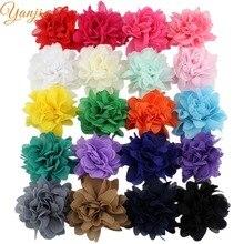 40 шт./лот, 1,5 дюймов, мини шифоновые цветы для девочек и детей,, сделай сам, потрепанная шифоновая заколка для волос с цветами и бантом, аксессуары для волос для девочек