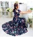 New2016summer богемия стиль женщины с плеча бабочку печатной шифоновое платье элегантный пляжный отдых платье XXXXL11216