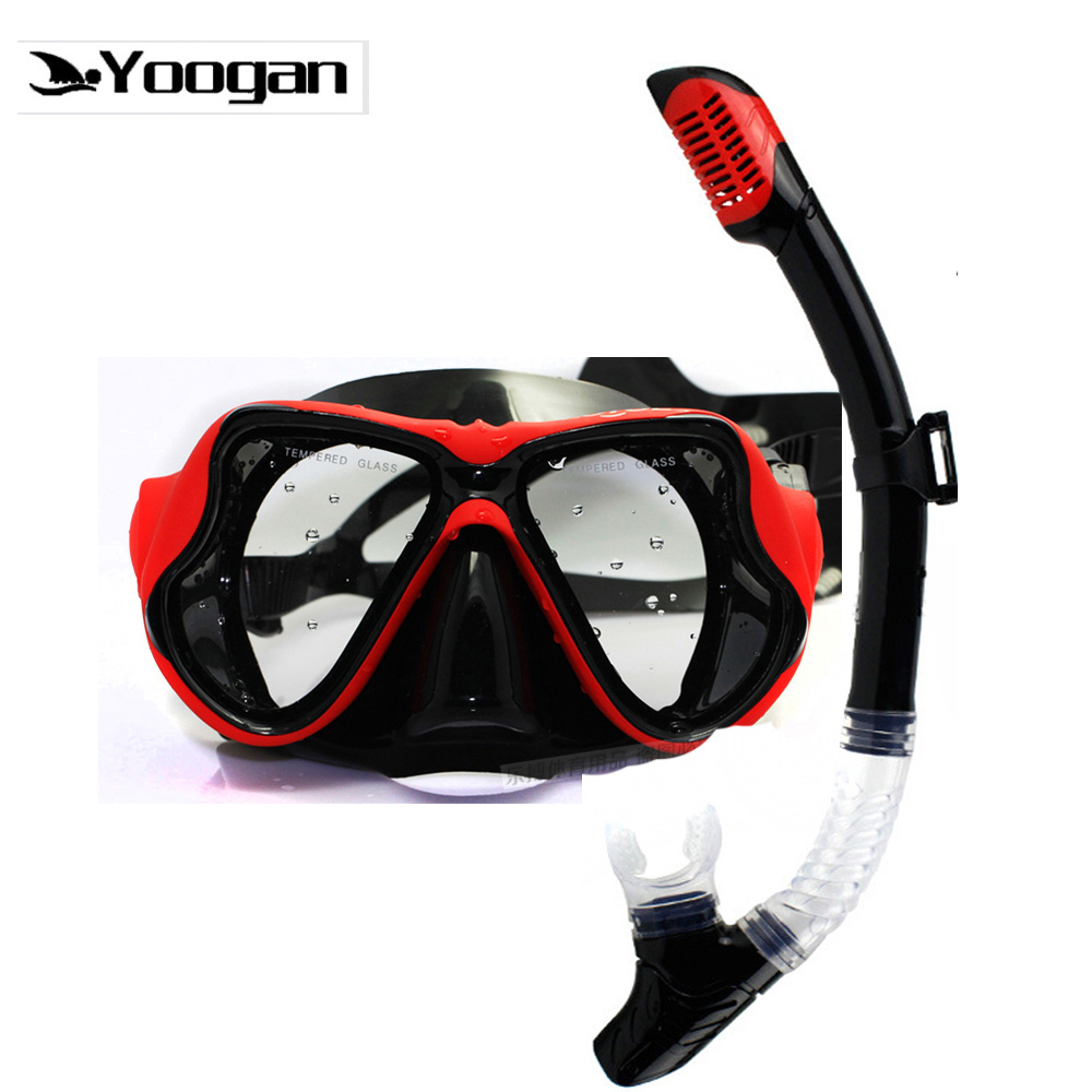 Yoogan myopia lens snorkel set Black silicone tempered lens scuba diving mask dry snorkel optical diving set for nearsighted ...