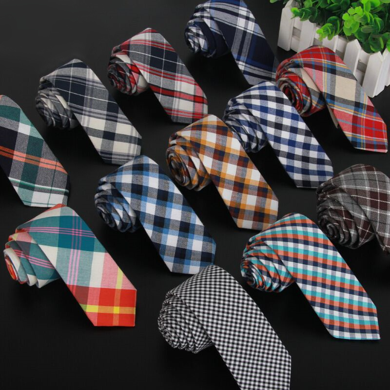 SHENNAIWEI High quality plaid men cotton and fabric linen cloth tie 5.5cm skinny necktie brand 2017 luxury gravata slim lot