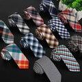 SHENNAIWEI paño de tela escocesa de los hombres de algodón y tela de lino de Alta calidad tie 5.5 cm flaco corbata gravata marca 2017 de lujo delgado lot
