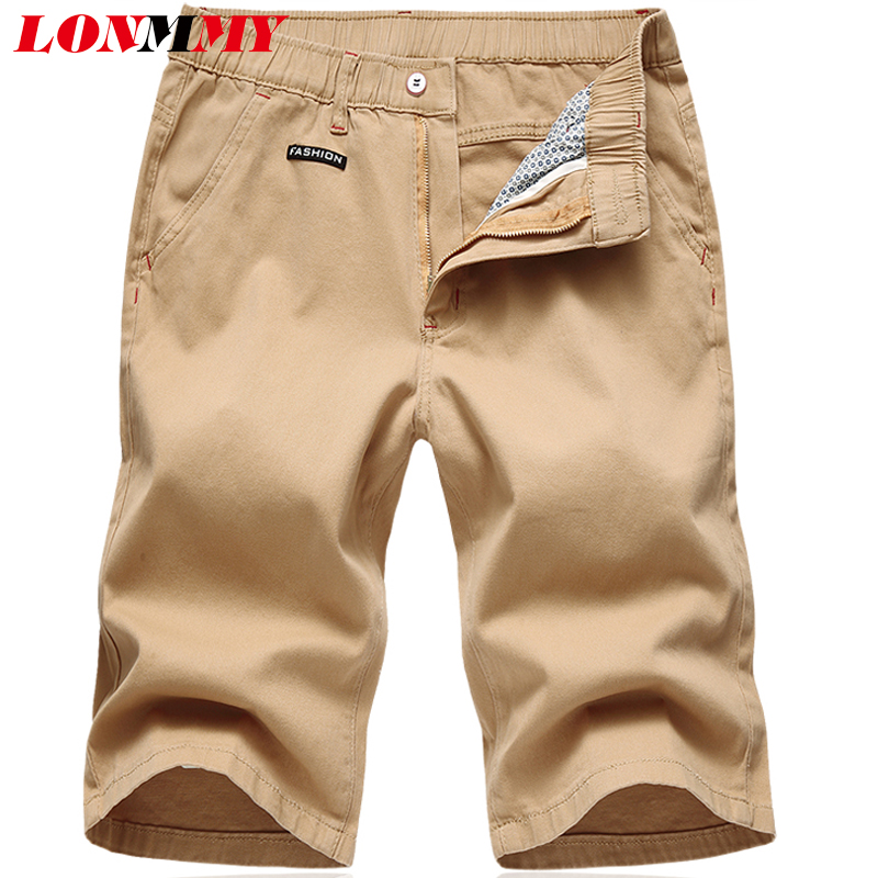 LONMMY Casual Shorts Men Cotton Solid Shorts mens Beach Straight Beach Joggers Knee Length Khaki Army Green 2018 Summer