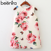2018 New Style Girls Summer Dress Flower Sleeveless Children Dress Pattern Printed Party Dress 3