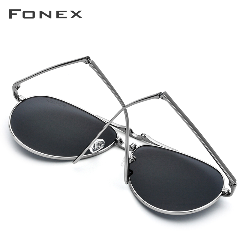 Image 5 - Pure Titanium Polarized Sunglasses Men Folding Classic Aviation Sun Glasses for Men 2018 New Aviador HIgh Quality Male Shades-in Men's Sunglasses from Apparel Accessories on AliExpress