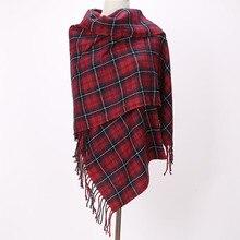 Брендовые шарфы с длинными кисточками, красные клетчатые кашемировые тканые теплые пашмины Зимние Модные шали для женщин