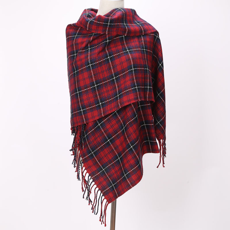 Brand Scarfs Long Tassels Röd Plaid Cashmere Vävt Varm Pashmina Winter Fashion Sjal För Kvinnor