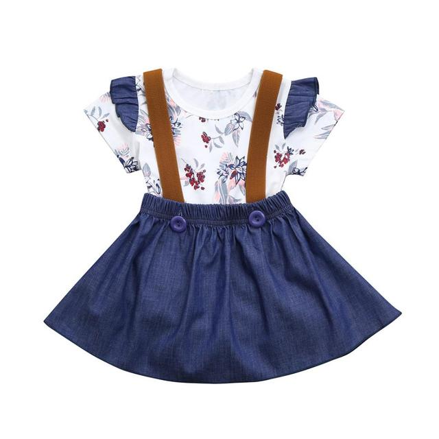 52c3bc3658a0 FEITONG Floral Print Summer Clothes Sets Baby Girls Fashion Short Sleeve  Rompers Jumpsuit Strap Denim Skirt Outfits Set 2018