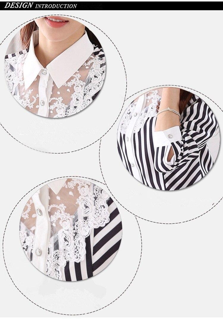 Camicette 2018 Nuova Signora Camicette Plue Formato S 4Xl Donne Decorazione di Pizzo A Righe Camicette Formale Sottile Top Camisa Feminina Camicetta di Chiffon - 6