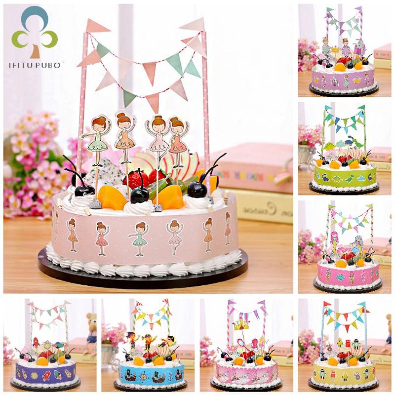 Decoration Children Kids Supplies Flags Happy Birthday Baby Shower Cake Topper