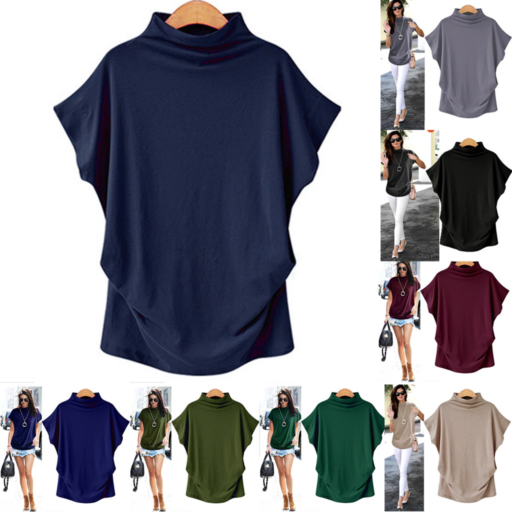 Summer Plus Size S-6XL T Shirt Women Turtleneck Cotton Broadcloth Short Sleeve Solid Casual Top NEW Fashion Freeship N4