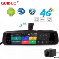 QUIDUX 10 inç Araba DVR Kamera Ayna 4G Dokunmatik IPS GPS Bluetooth WIFI ADAS Android 5.1 Çift Lens FHD 1080 p Video Kaydedici Dash kam