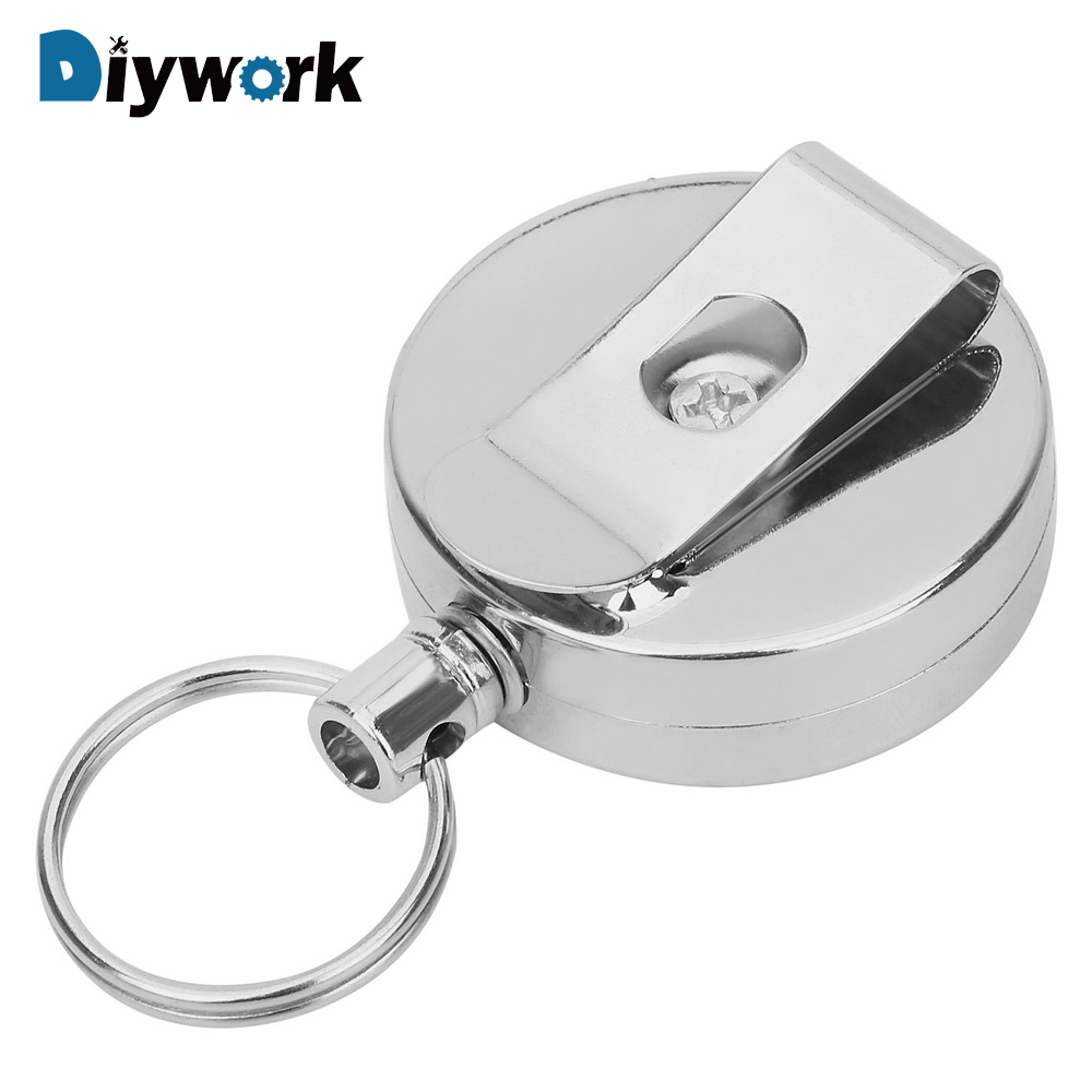DIYWORK Retracting Wire Rope Anti-theft Keychain Portable Extendable Metal Wire 60cm Key Chain Ring Clip Pull Keyring