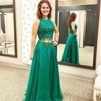 2019 Vestido de festa A Line Crop top Prom Party Dress Beaded Lace Formal Gowns Two Piece Prom Dresses Green Chiffon
