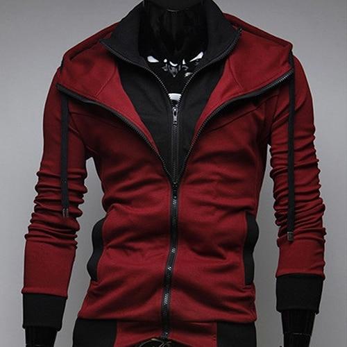 Men Slim Fit Double Zipper Two Tone Hooded Sweatshirt Coat Casual Jacket Outwear