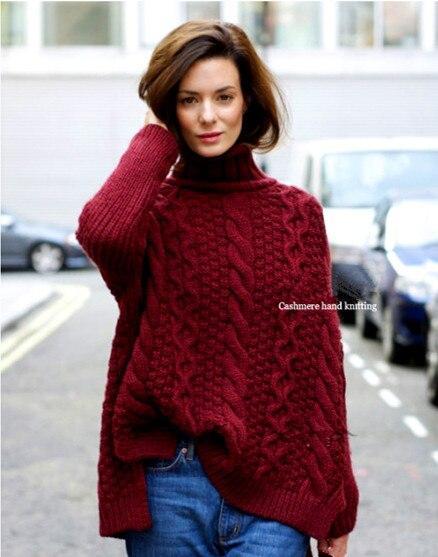 100% ручная работа козьей кашемировая вязаная женская мода Широкие свободные пуловеры свитер средней длины куча воротник S XL Розничная Оптов