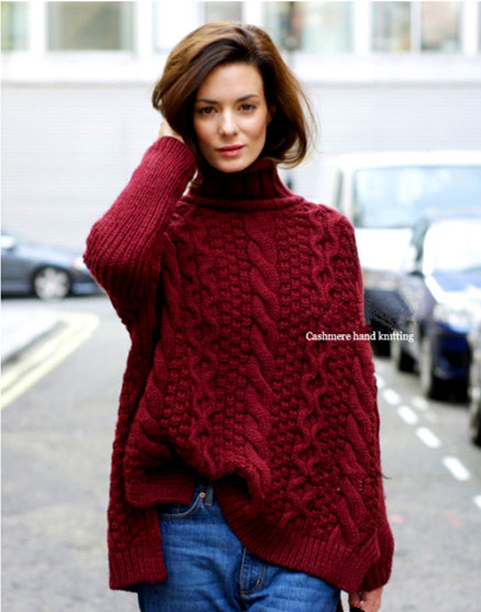 100%hand made goat cashmere knit women fashion wide loose pullovers sweater mid long heap collar S-XL retail wholesale customize