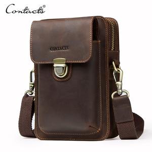 Image 1 - Top Quality Men Waist Pack Genuine Leather Vintage Travel Cell Phone Bag With Zipper Pocket Card Holder For Male Shoulder Bag