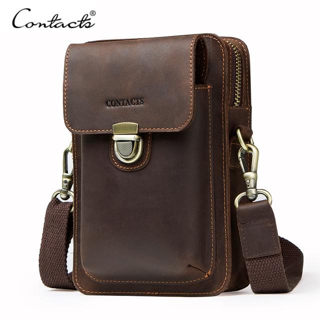 أعلى جودة الرجال الخصر حزمة جلد طبيعي Vintage السفر هاتف محمول حقيبة مع سحاب جيب حامل بطاقة للذكور حقيبة كتف