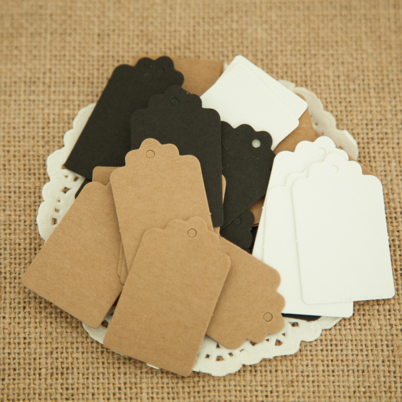 100Pcs Blank Kraft Paper Tags 3 Colors Scalloped Head Label Luggage Wedding Note Blank Price Hang Tag Party Decoration