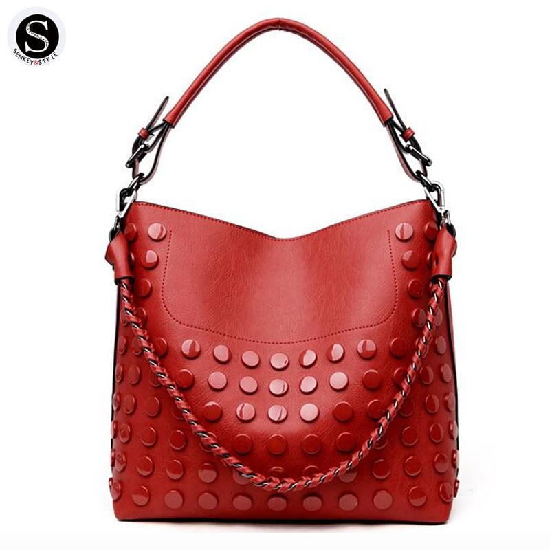 Senkey Style Women Bag New Famous Brands Retro Chain Rivet Big Leather 2017 Luxury Handbags Designer Shoulder Bags For Women 可再生能源与二氧化碳地质储存[renewable energy and co2 geological storage]