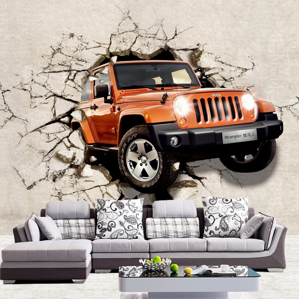 US $8 47 OFF Custom 3D Wallpaper Brown Car Broken Wall Out Wall Mural For Children Kids Room Sofa Backdrop Wall Paper Wallcoverings 3d