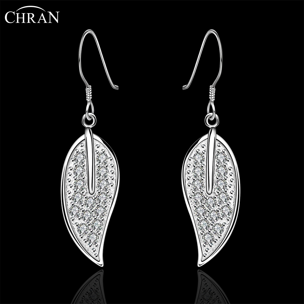 Chran Charming Earrings Brand Costume Jewelry Accessories Fashion Silver  Color Zircon Crystal Leaf Dangle Earrings For