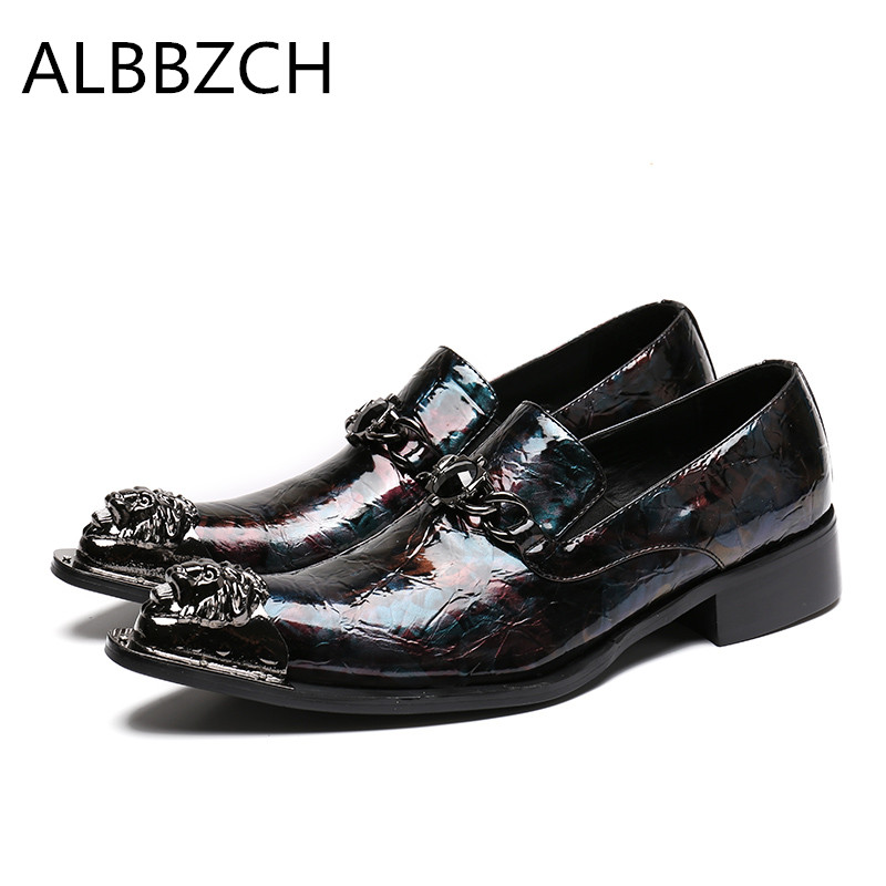 Spring summer new printing patent leather men shoes fashion loafers pointed toe slip on mens career work shoes big yards 46 US12Spring summer new printing patent leather men shoes fashion loafers pointed toe slip on mens career work shoes big yards 46 US12