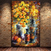 Large Handmade Acrylic Floral Paintings Modern Abstract Wall Art Pictures Handpainted Yellow Daisy Flower Oil Painting