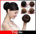 New Women Chignon Synthetic Hair Extensions Black Brown Straight Round Clip Bun Hairpiece Heat Resistant Chignons Buns Hairpiece