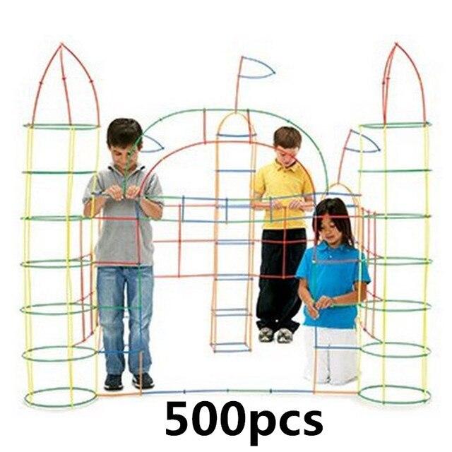 500 Pcs พลาสติกเด็ก 4D Straw Building Blocks Joint ตลก Development ของเล่น