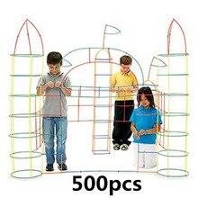 500 Pcs פלסטיק בני בנות 4D קש אבני בניין משותף מצחיק פיתוח צעצועים