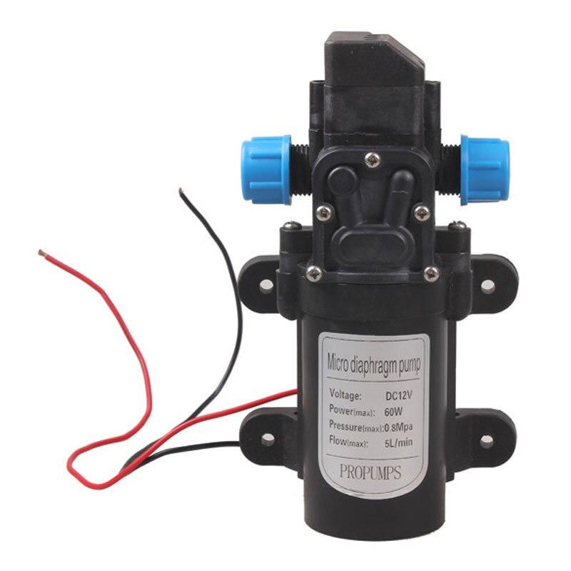 60 w DC 12 v Pompe à Eau Haute Pression Électrique Micro Pompe À Eau À Membrane Interrupteur Automatique 5L/min Gamme 8 m