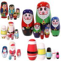 5 יחידות סט עץ בובות רוסית קינון בובות קינון בובות יד צבע BM88 חג המולד סנטה קלאוס