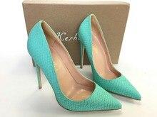 Keshangjia Heiße Verkäufe Frauen Pumpt Modedesign High Heels Schuhe Hohe Qualität Schlange Muster Styles Echtes leder Freizeitschuhe
