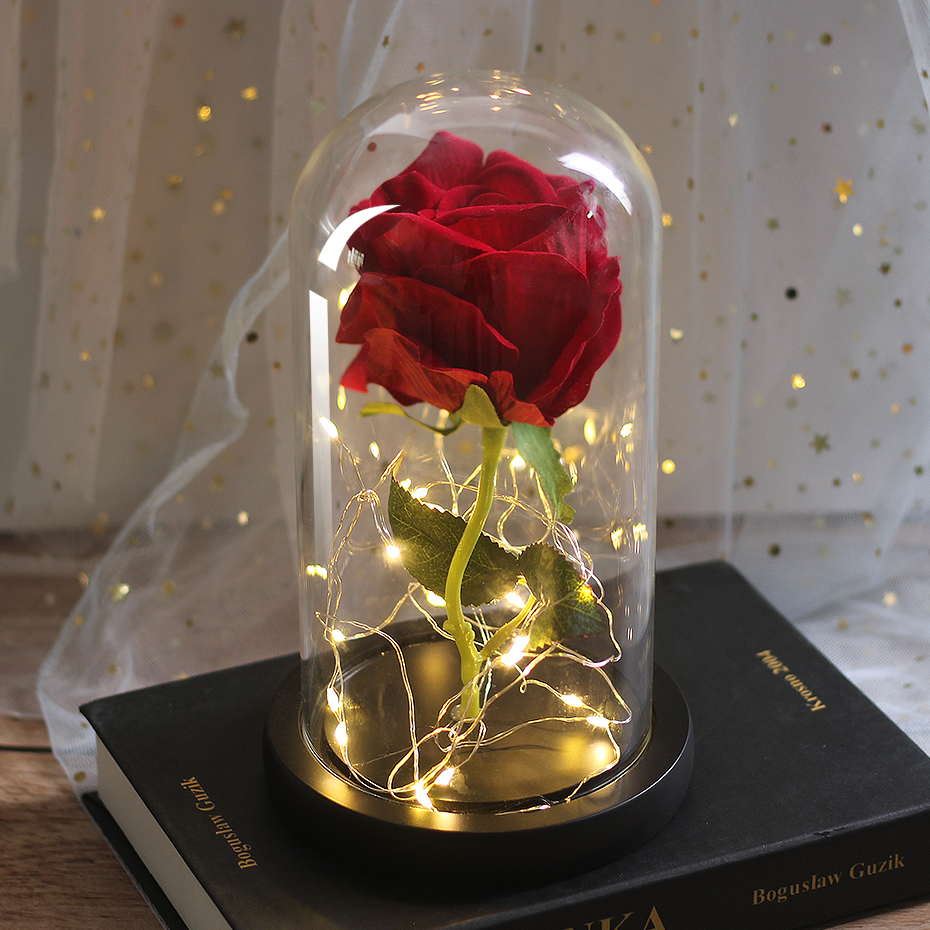 LED Eternal Flower Immortal Flora Light Up Dome Beauty and The Beast Rose In A Flask Valentine's Day Birthday Christmas Day Gift - Цвет: 090