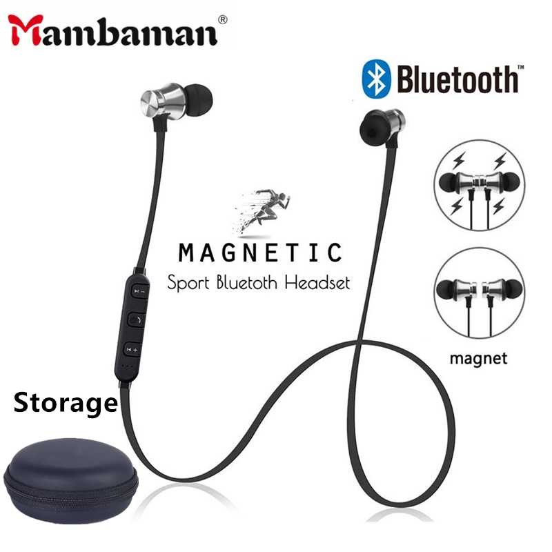 Magnetic Nirkabel Bluetooth Earphone Stereo Olahraga Tahan Air Earbud Wireless In-Ear Headset Xt11 dengan MIC untuk iPhone 7 Samsung