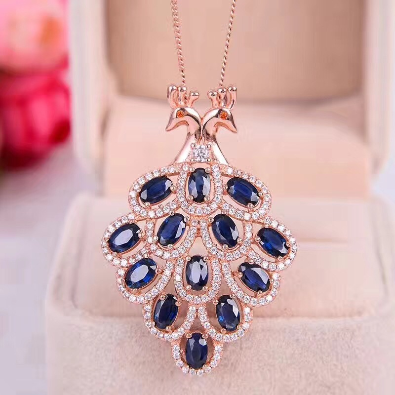 Uloveido Natural Blue Sapphire Stone Pendant Necklace for Girls 925 Sterling Silver Gemstone Phoenix Necklace for