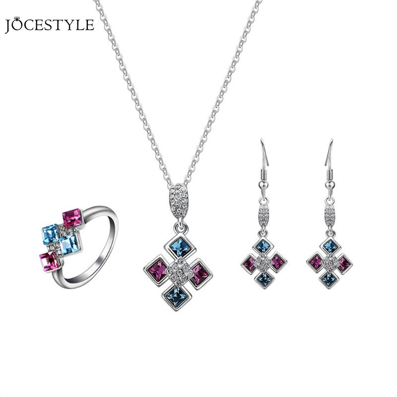 Crystal Square Pendant Fashion Jewelry Set for Women Earrings Necklace Ring Mystic Jewlery Set Wedding Necklaces Sets