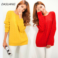 DASUANG Women Sweater Pullovers 2017 New Fashion Casual Long Sleeve O Neck Twist Knitted Sweaters 9