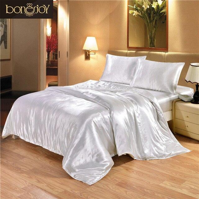 Bonenjoy Satin Silk Bedding Set White Bed Linen Luxury Jacquard Bedding Set  King Queen Twin Double